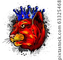 Panther in the crown. Vector illustration design 63325468