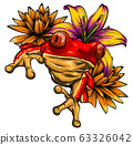 animal Red frog with flower vector illustration 63326042