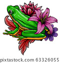 Cute frog cartoon. Cartoon frog sitting with flower, Vector illustration 63326055