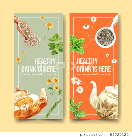 Herbal tea flyer design with peppermint, 63326126