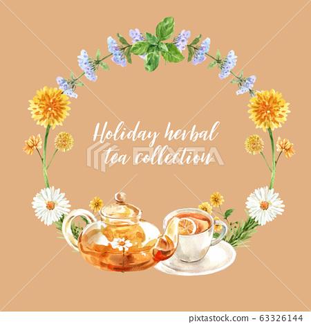 Herbal tea wreath design with Melissa, 63326144