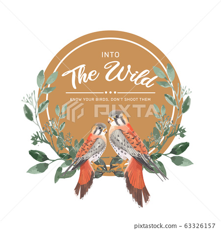 Insect and bird wreath design with birds, leaves  63326157