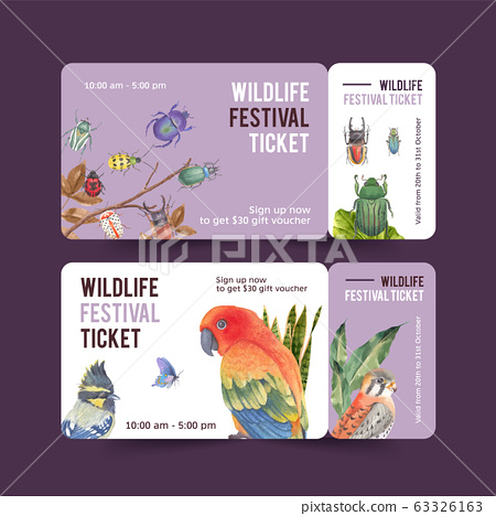 Insect and bird ticket design with sun conure, 63326163