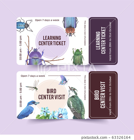 Insect and bird ticket design with blue jay, 63326164
