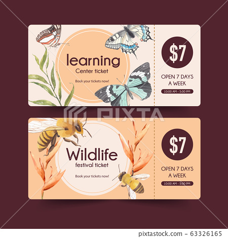 Insect and bird ticket design with butterfly, bee 63326165