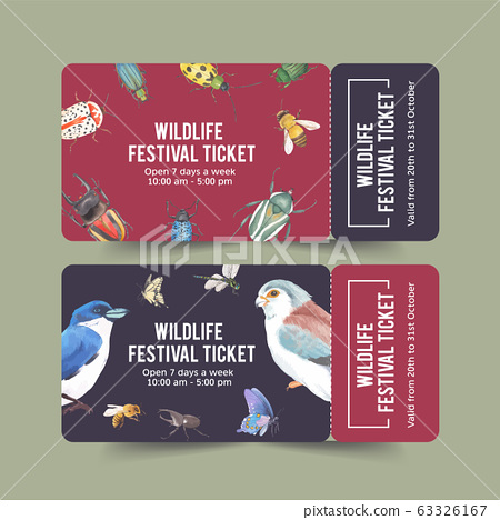 Insect and bird ticket design with butterfly, 63326167
