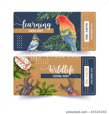 Insect and bird ticket design with blue jay, bug, 63326168