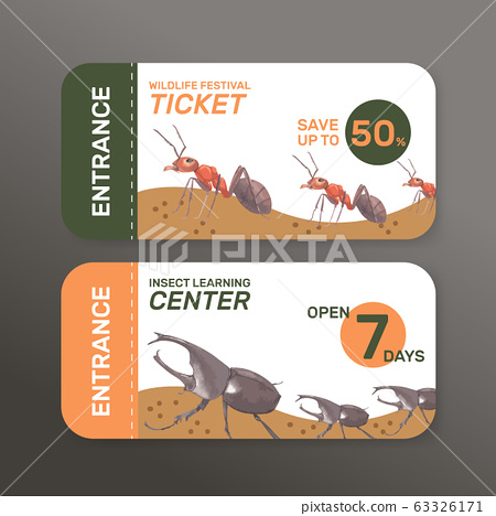 Insect and bird ticket design with ant, beetle 63326171