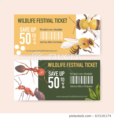Insect and bird ticket design with bee, ant 63326174