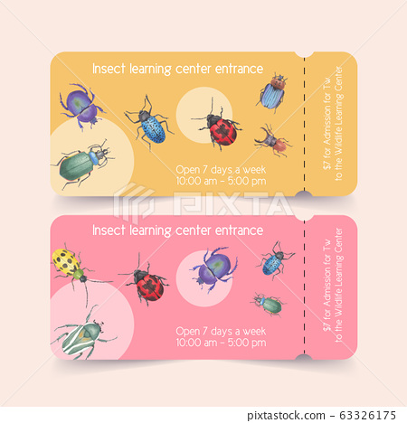Insect and bird ticket design with ladybug, beetle 63326175