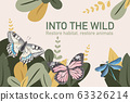 Insect and bird frame design with butterfly, 63326214