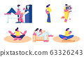 Happy Pregnant Woman Waiting Baby Exercising in Gym, Visiting Ultrasound, Female Character Fitness Sports Activity 63326243