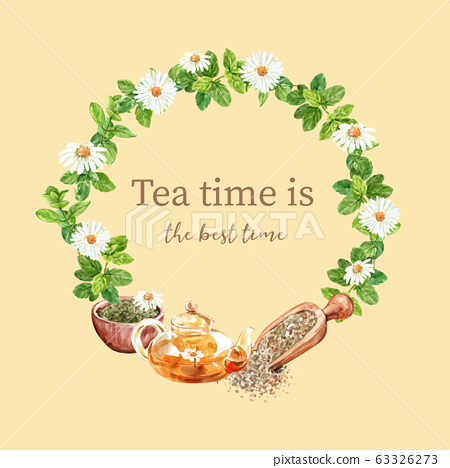 Herbal tea wreath design with Aster, Mint, 63326273
