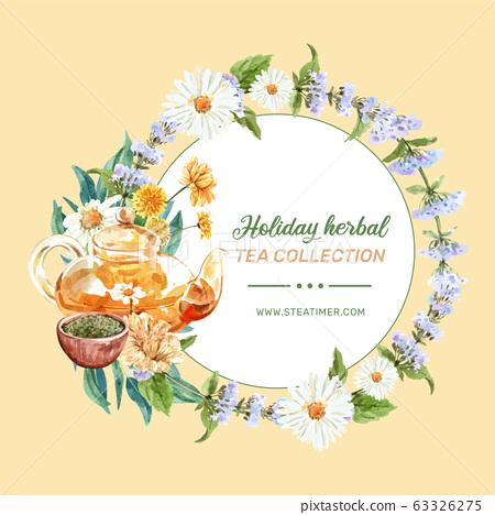 Herbal tea wreath design with Flowers, Tea pot, 63326275
