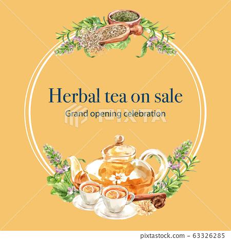 Herbal tea wreath design with Leaf, Thyme, 63326285