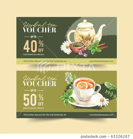 Herbal tea voucher design with chamomile, basil, 63326287