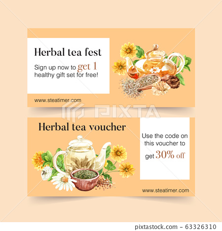 Herbal tea voucher design with chrysanthemum, 63326310