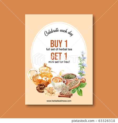 Herbal tea poster design with Dry Apricot, Tea 63326318