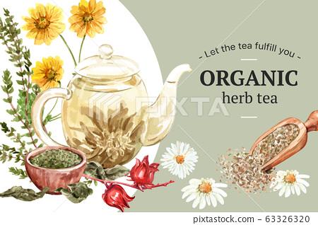 Herbal tea frame design with Tea pot, Roselle, 63326320