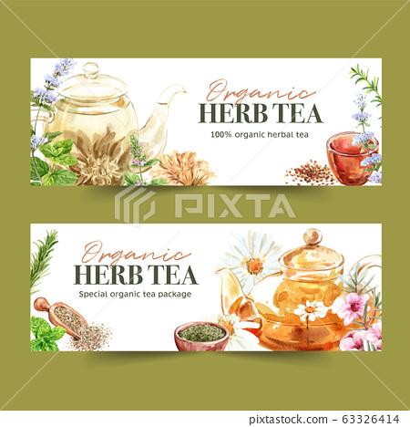 Herbal Tea Banner Design With Basil Savory Stock Illustration 63326414 Pixta