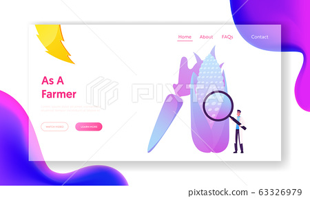 Agricultural Genetics Technology Landing Page Template. Tiny Male Scientist Character with Magnifier Look on Huge Genetically Modified Corn and Carrot. Genome Engineering. Cartoon Vector Illustration 63326979