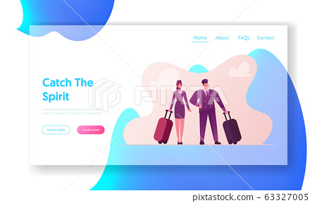Aviation Insurance Landing Page Template. Pilot and Stewardess Characters with Luggage Prepare Flying on Airplane. Air Travel Protection, Aircraft Crew Profession. Cartoon People Vector Illustration 63327005
