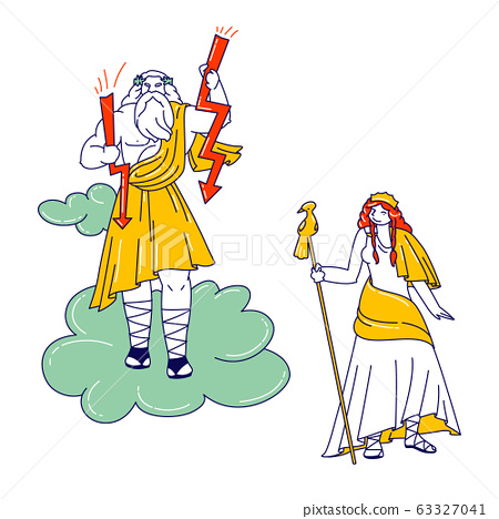 Greek Gods Zeus, Jupiter or Jove and his Wife Hera or Juno on Olympus Mountain. Fantasy Characters of Greece Deities Pantheon from Classical Greek or Roman Mythology. Linear People Vector Illustration 63327041