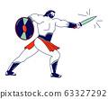 Spartan Male Character Legionary Soldier, Roman Warrior Gladiator Holding Shield and Sword Fighting on Coliseum Arena. Ancient History,Tale or Combat Show for Audience. Linear Vector Illustration 63327292