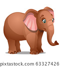 Cute brown baby elephant isolated on white background. Vector cartoon close-up illustration. 63327426