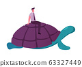 Businessman Character in Formal Wear Riding Huge Turtle. Business Competition, Acceleration and Progress Concept. Slow Movement to Success, Manager Driving Giant Tortoise. Cartoon Vector Illustration 63327449