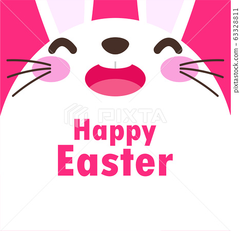 Happy Easter poster. Rabbit Bunny  Easter egg greeting card. banner template isolated on Background vector illustration 63328811