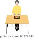 스테이크 접시를 먹는다 수석 여성 테이블 63329283