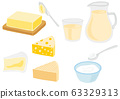 Set of dairy products butter milk cheese yogurt 63329313