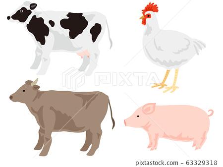 축육 동물 세트 젖소 육우 닭 돼지 63329318