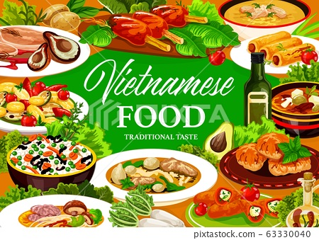 Vietnamese dishes with rice, vegetable, meat, fish 63330040