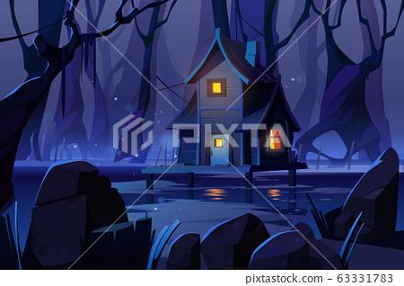 Wooden mystic stilt house on swamp in night forest 63331783