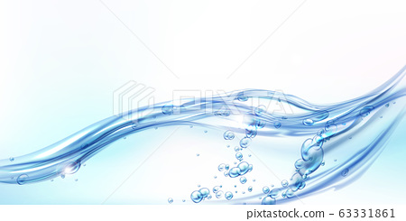 Fresh clean water wave with bubbles and drops 63331861