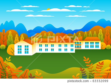 Hills and mountains landscape, house farm in flat 63332099