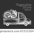 Green vegetables shop delivery logo template. Hand 63333364