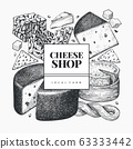 Cheese design template. Hand drawn vector dairy 63333442