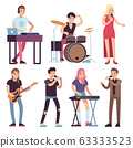 Musicians. Rock and pop musicians with microphones, guitarists and drummers, vocalists musical performance, vector cartoon characters 63333523