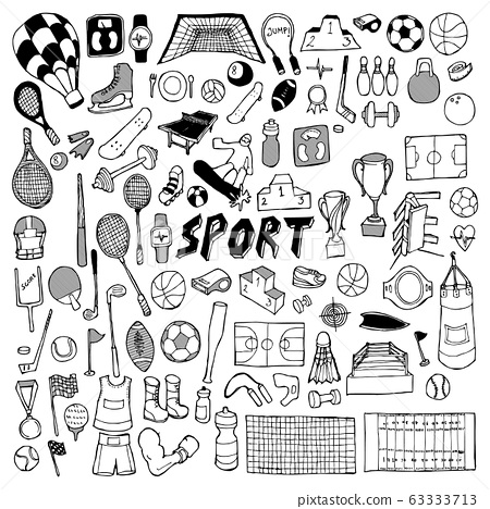 Sport doodle set. Drawing vector illustration hand 63333713
