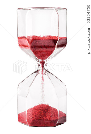 Vintage glass hourglass with red sand 63334759