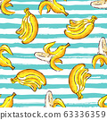 Banana tropics seamless pattern, Hand-drawn bananas on a striped isolated background. Watercolor stylization, Vector illustration Eps10 63336359