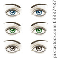 Women's luxurious eyes with perfect eyebrowes and full lashes. 63337487