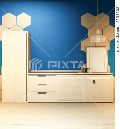 Kitchen room scene mock up with wooden counter 63338024