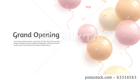 Background with pastel delicate soft air balloons of round shape and confetti, flying in random on white backdrop to the right side of the composition and text grand opening of woman or girl bussiness 63338563