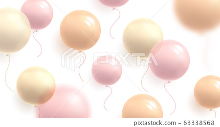Background with pastel air balloons of round shape and confetti, flying in random on white backdrop, delicate soft light graphic illustration 63338568