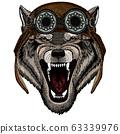 Wolf portrait. Head of wild animal. Aviator flying leather helmet with googles. 63339976