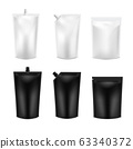 Realistic 3D Black and White Blank Doy Pack Mock up set. Vector Doypack Template Packing with and 63340372